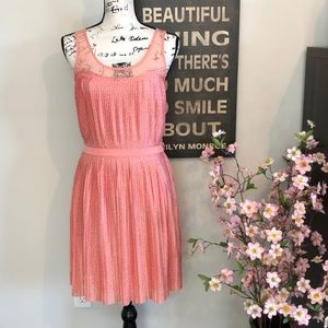 ❤️LC Laguna Sunrise Pleated Peach Polka Dot Dress